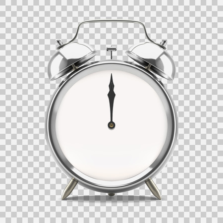 Ringing alarm clock showing 12 o'clock midnight or noon, on transparent background. Vector illustration