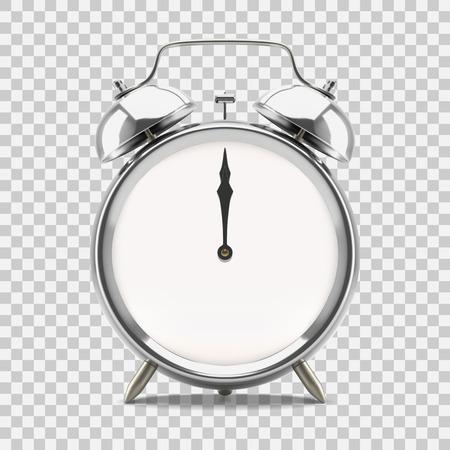 Ringing alarm clock showing 12 oclock midnight or noon, on transparent background. Vector illustration