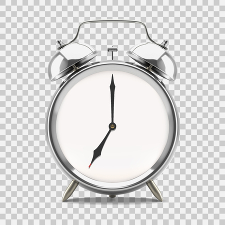 Ringing alarm clock showing 7 oclock morning or evening, on transparent background. Vector illustration Illustration