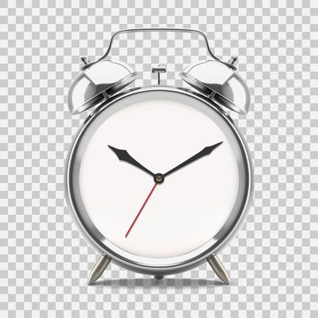 Ringing alarm clock showing 10 oclock morning or evening, on transparent background. Vector illustration