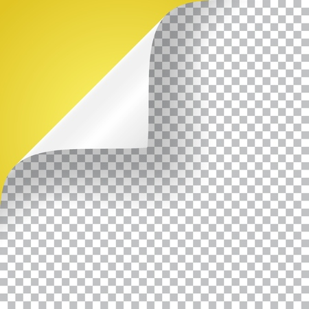 Curly corner of a paper sheet, realistic vector illustration with transparent shadow. Stockfoto - 126450091