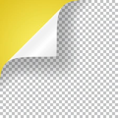 Esquina rizada de una hoja de papel, ilustración vectorial realista con sombra transparente.