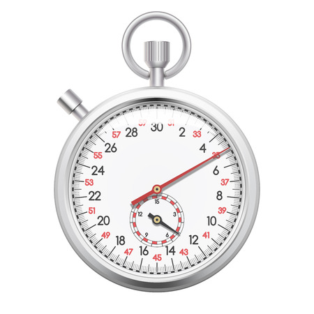 Chronomètre réaliste, chronomètre d'enregistrement de l'heure pour le sport, délai de livraison cincept. Isolé sur fond blanc. Illustration vectorielle