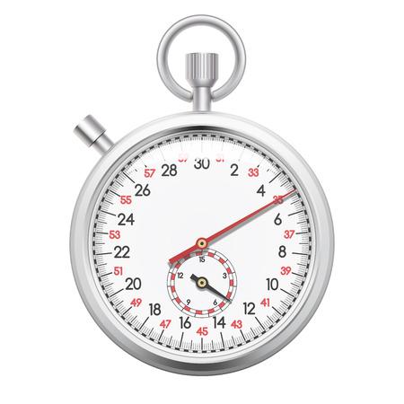 Cronómetro realista, cronómetro con registro de tiempo para deportes, tiempo de entrega cincept. Aislado sobre fondo blanco. Ilustración vectorial
