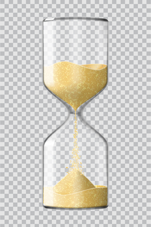 Realistic hourglass clock made of glass with yellow sand running down, on transparent background. Vector illustration.