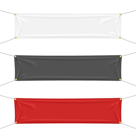 Black, white and red textile banners with folds, isolated on white background. Blank hanging fabric template set. Vector illustration Ilustrace