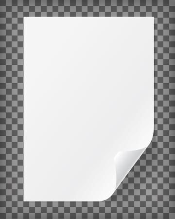 Feuille de papier A4 vierge avec coin recourbé. Illustration vectorielle réaliste