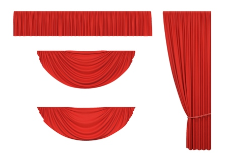 Set of red curtains and pelmet drapery for interior, performance event, isolated on white background. Vector illustration