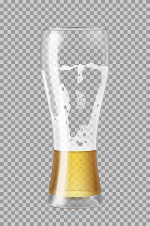 Tall beer glass with lager beer and foam, half full or empty, in the process of drinking. Transparent vector illustration.