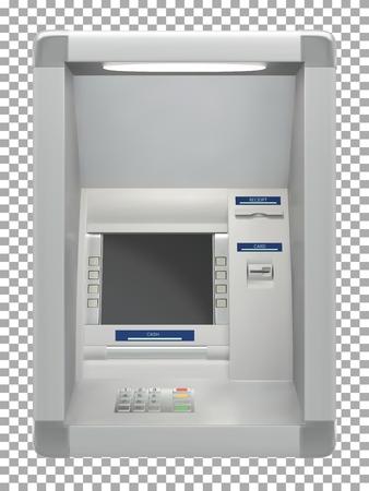 Distributeur automatique de billets avec lecteur de carte et écran d'affichage. Illustration vectorielle Vecteurs