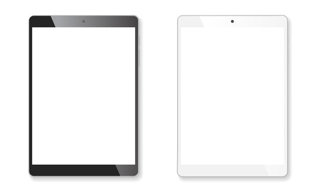 Realistic tablet portable pads set. Contemporary black and white mobile gadgets. Vector illustration Ilustração