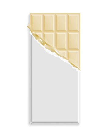 White chocolate bar in a blank wrapper mock up. Sweet dessert package template. Vector illustration