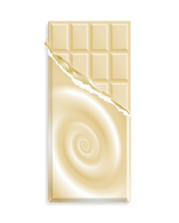 White chocolate bar in a wrapper with chocolate swirl, can be replaced with your design. Vector illustration Banco de Imagens - 124994385