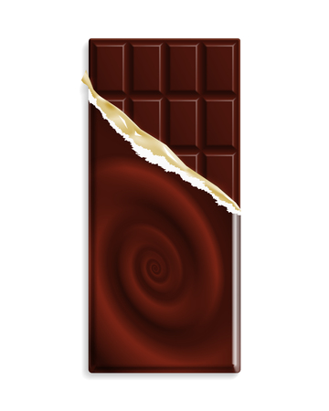 Dark bitter chocolate bar, wrapper with chocolate swirl, can be replaced with your design. Vector illustration