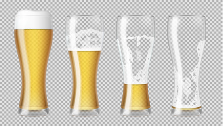 Tall realistic glasses with lager beer and foam, with different amounts, showing a drinking sequence. Transparent vector illustration.