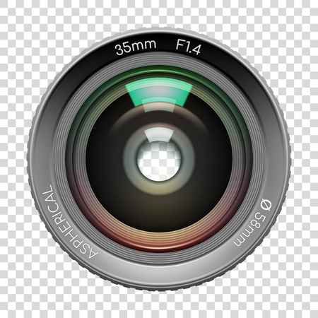 Highly detailed video or photo camera lens 35mm F1,4 close up image, n transparent background. Vector illustration