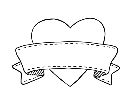 Hand drawn vintage style banner with heart and stitches decoration, isolated on white background. Vector illustration