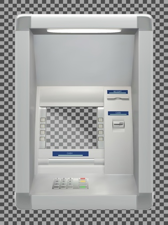 Atm bank machine with a card reader and display screen. Vector illustration