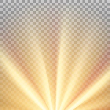 Rayons de soleil jaune avec une fusée orange chaude. Effet éblouissant abstrait avec transparence. Illustration vectorielle Vecteurs