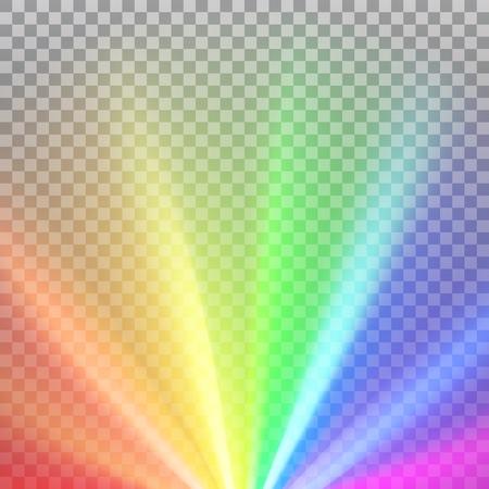 Raggi colorati arcobaleno con bagliore dello spettro dei colori. Effetto abbagliante astratto con trasparenza. Illustrazione vettoriale
