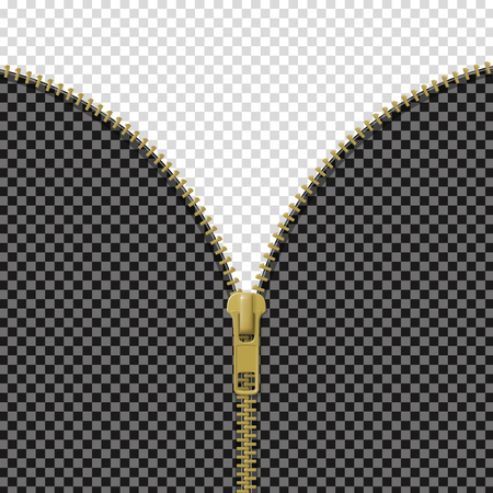 Zipper lock half open, blank mockup, revealing a message or content discovery concept on transparent background. Realistic vector illustration