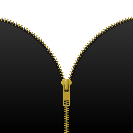 Zipper lock half open, blank mockup, revealing a message or content discovery concept. Realistic vector illustration