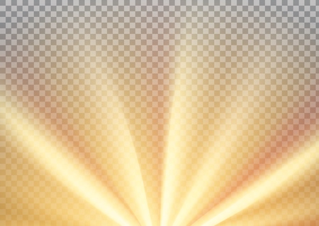 Yellow sun rays with warm orange flare, A4 size. Abstract glaring effect with transparency. Vector illustration Ilustração