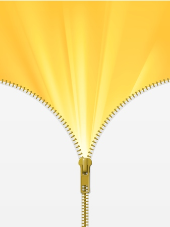 Zipper lock half open, revealing yellow sun rays, discovery concept, with blank white space. Realistic vector illustration Ilustração
