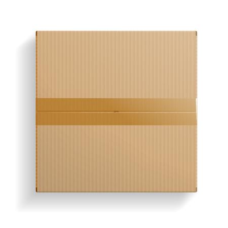 Caja de cartón realista, vista superior cerrada, con sombra transparente aislada sobre fondo blanco. Ilustración vectorial