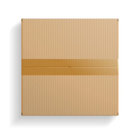 Realistic cardboard box, closed top view, with transparent shadow isolated on white background. Vector illustration