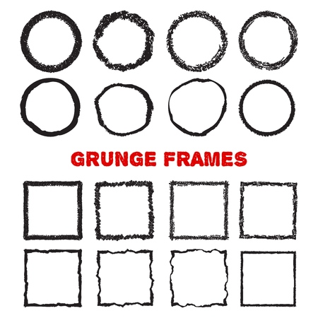 Set of hand drawn circles and suares as grunge textured frames, isolated on white background. Vector illustration.