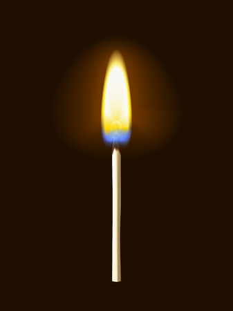 Realistic burning matchstick flame with transparency, isolated on black background. Vector illustration