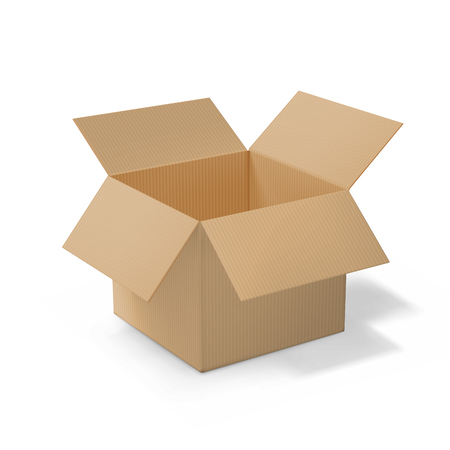 Realistic cardboard open box, side 3d view, with transparent shadow isolated on white background. Vector illustration