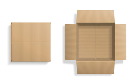 Realistic cardboard box set, opened and closed top view, with transparent shadow, isolated on white background. Vector illustration Vettoriali