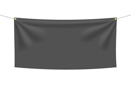 Black textile banner with folds, isolated on white background. Blank hanging fabric template, empty mockup. Vector illustration Ilustração