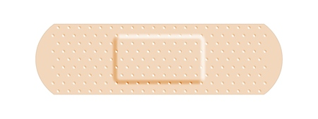 Vendaje adhesivo beige, médico y sanitario. Ilustración de vector aislado sobre fondo blanco.