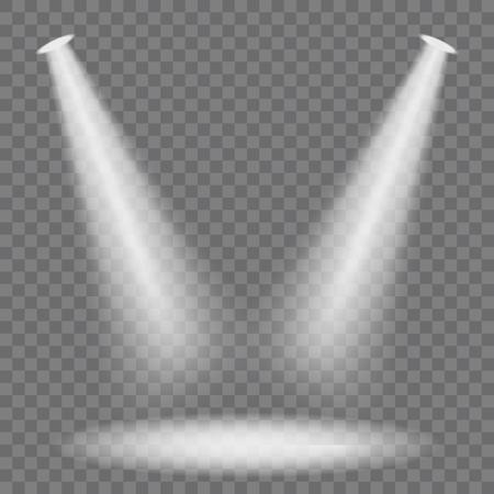 Transparent stage spotlights or tudio illumination mock up. Vector illustration.