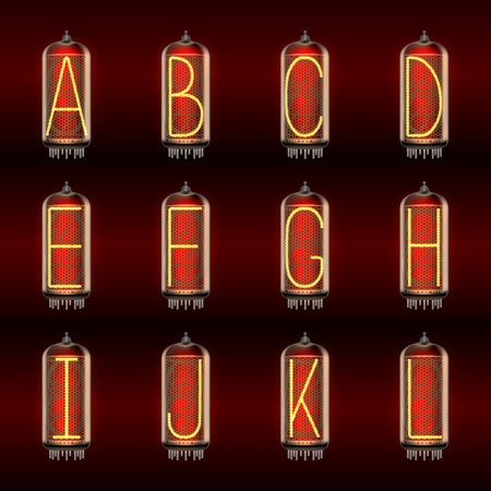 Retro-styled Alphabet set on pixie tube indicator lamps with letters A to L lit up, includes transparency. Vector illustration.
