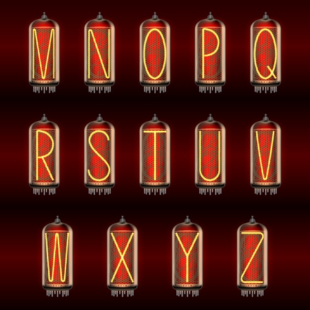 Retro-styled Alphabet set on pixie tube indicator lamps with letters M to Z lit up, includes transparency. Vector illustration. Illustration