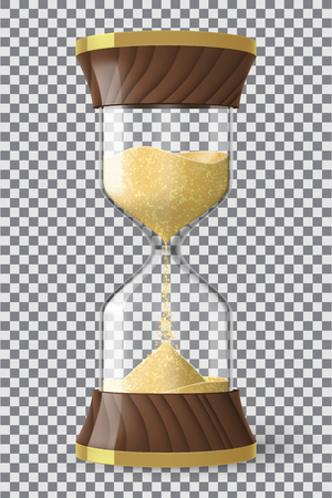 Realistic hourglass clock made of glass, wood and golden metal with yellow sand running down, on transparent background. Vector illustration.