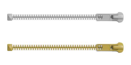 Satz geschlossener Reißverschlussschlösser mit verschiedenen Größen, leeres Modell. Realistische Vektorillustration