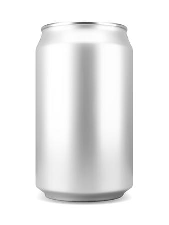 Lattina di birra o bibita in alluminio color argento realistico, isolata su sfondo bianco. Illustrazione vettoriale