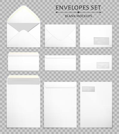 Blank envelopes in various sizes set in 3 views, back and front closed and open. Photo-realistic vector illustration. Vetores