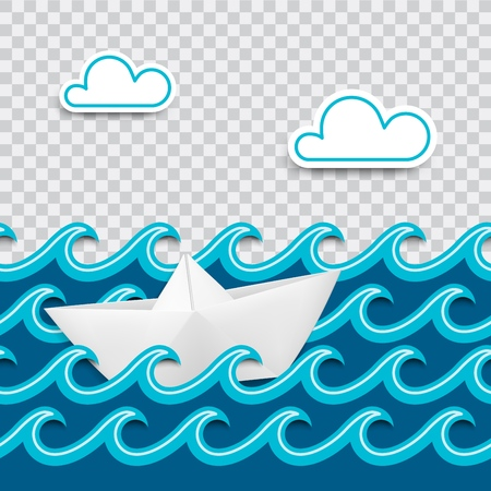 Nautical card made of paper cut out with waves and clouds and a boat in origami style with place for design and transparent shadows. Vector illustration. Иллюстрация