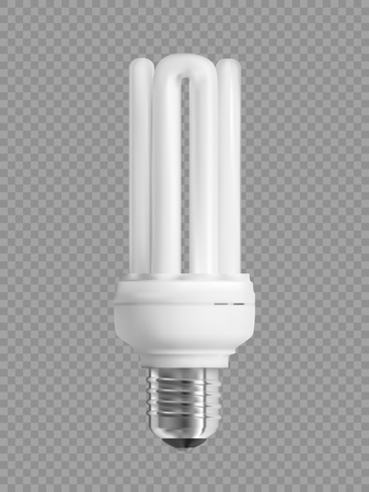Energy saving light bulb on transparent background. Realistic vector illustration.