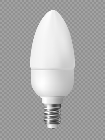 Energy saving light bulb on transparent background. Realistic vector illustration.