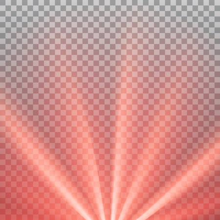 Red colored rays with color spectrum flare. Abstract glaring effect with transparency. Vector illustration