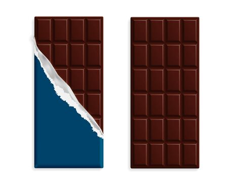 Dark bitter chocolate bars set in wrappers mock up set, blank package with place for text isolated on white background. Vector illustration