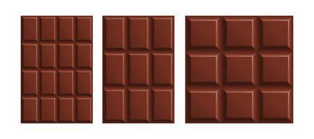 Milk chocolate bars mock up set isolated on white background. Vector illustration Illusztráció