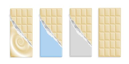 White chocolate bars set in wrappers mock up set, blank package with place for text isolated on white background. Vector illustration